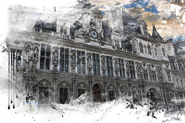 Louvre In A Splash Print by Evie Carrier