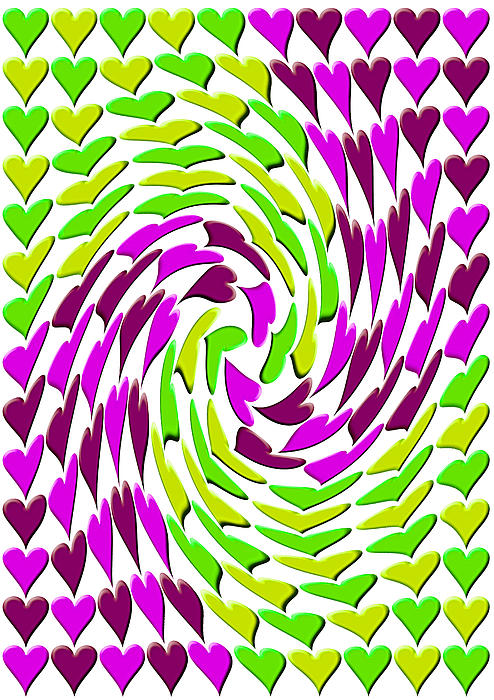 Love Hearts Abstract Multi Twist 2 Print by Emma Smith
