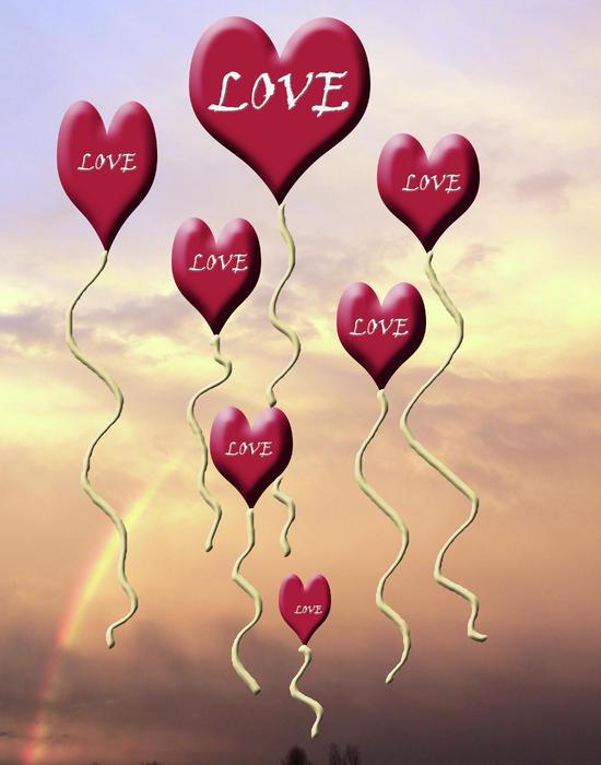 Love Is In The Air Sunshine Rainbow Print by Cathy  Beharriell