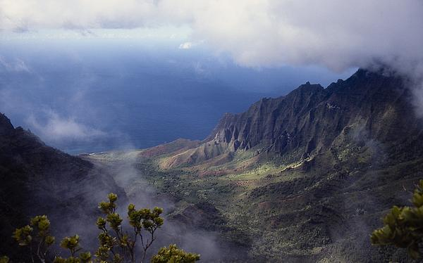 Low Clouds Over A Na Pali Coast Valley Print by Stuart Litoff