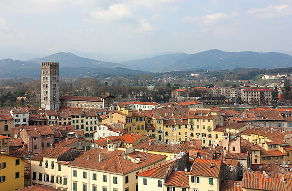 Lucca Aerial Panoramic View With Piazza Dell' Anfiteatro Print by Kiril Stanchev