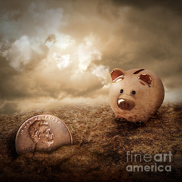 Lucky Piggy Bank Finds Lost Penny In Dirt Print by Angela Waye