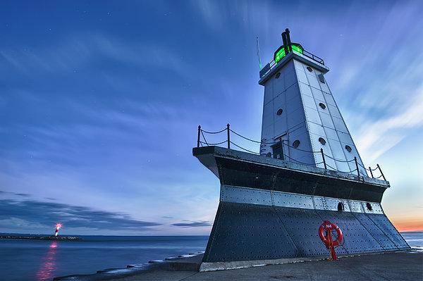 Ludington North Breakwater Lighthouse Print by Sebastian Musial