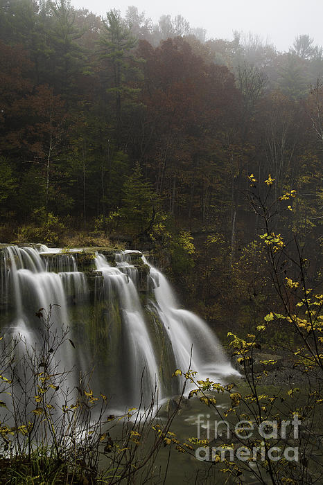 Ludlowville Falls In Autumn I Print by Michele Steffey