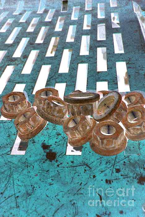 Lug Nuts On Grate Vertical Turquoise Copper Print by Heather Kirk