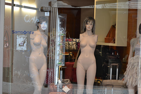 Luggage Store Mannequins Print by Bill Mock