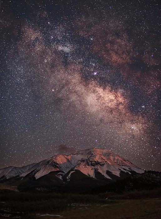 Lunar Alpenglow And Milky Way Skies At West Spanish Peak Print by Mike Berenson