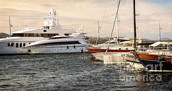 Luxury Boats At St.tropez Print by Elena Elisseeva