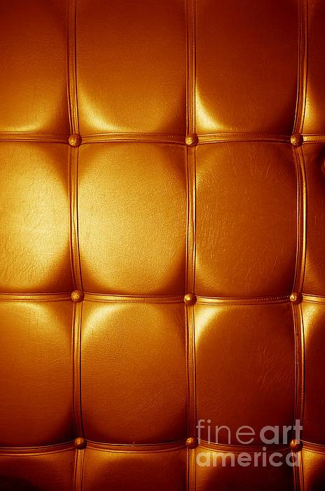 Luxury Genuine Leather. Golden Color Print by Michal Bednarek