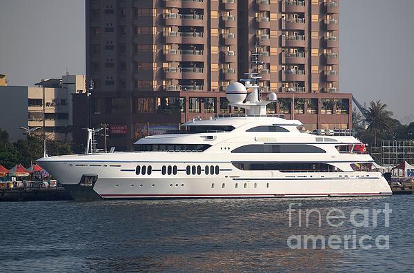 Luxury Yacht Visits Kaohsiung Port Print by Yali Shi