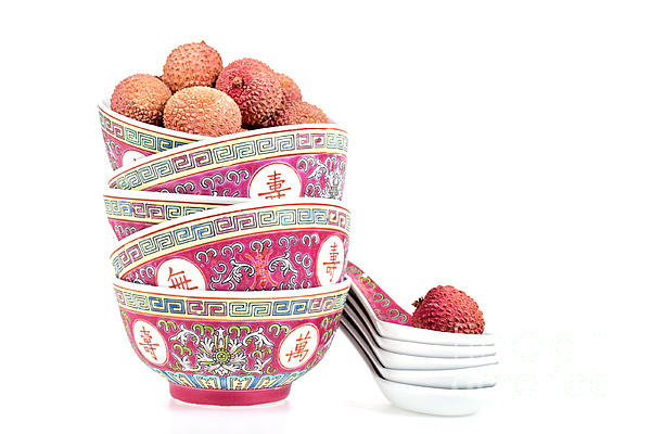 Lychees In Bowls With Spoons Print by Jane Rix