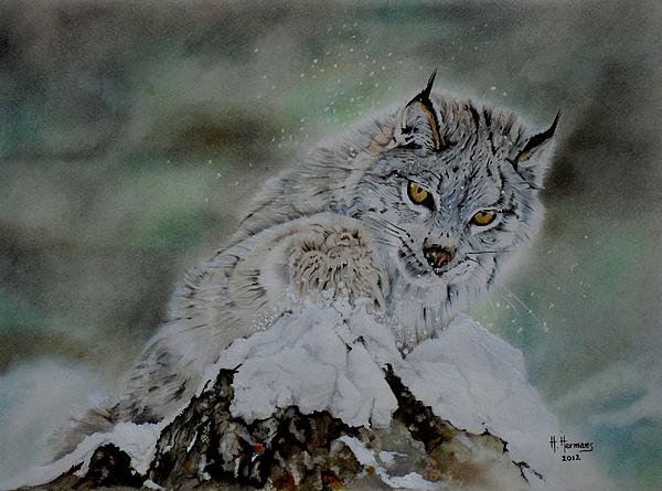 Lynx Playing With Snow Print by Hendrik Hermans