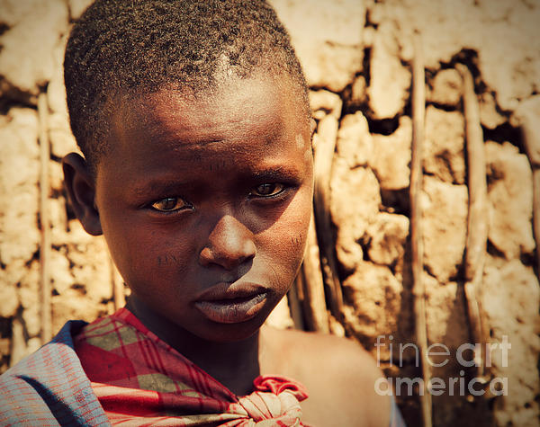 Maasai Child Portrait In Tanzania Print by Michal Bednarek