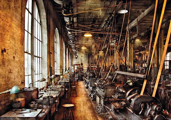 Machinist - Machine Shop Circa 1900's Print by Mike Savad