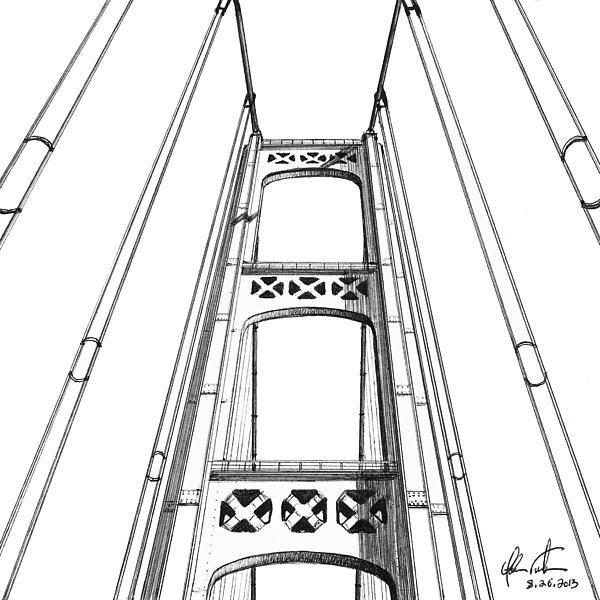 Mackinac Bridge Tower Print by Adam Vereecke