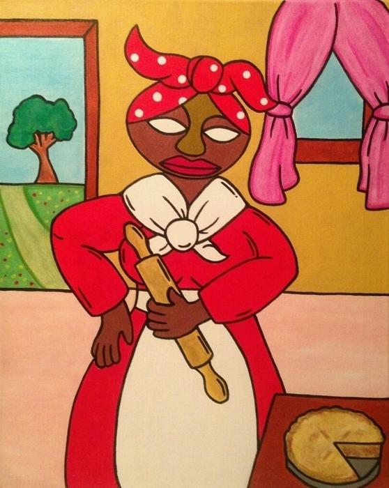 Madame In Red Print by Eddie Pagan