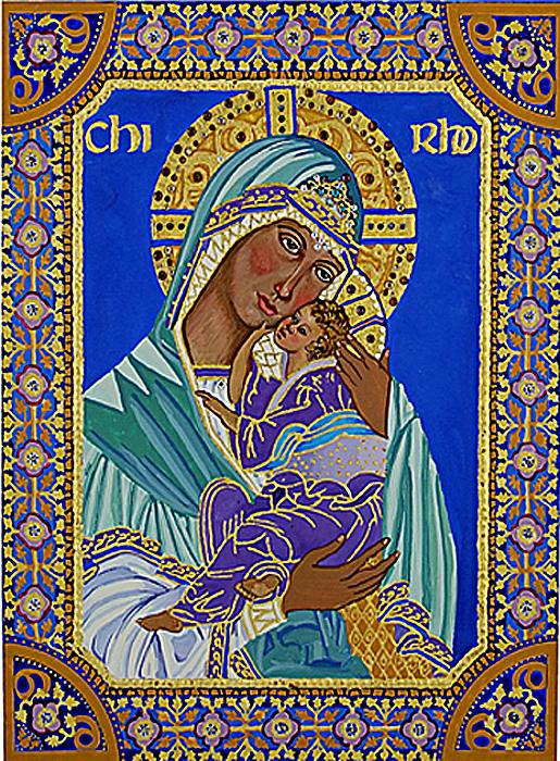 Madonna And Child Print by Janet Ashworth