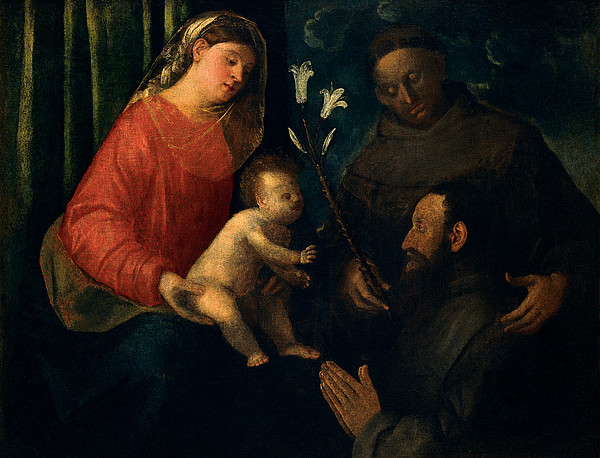 Madonna And Child With St Anthony Print by Giovanni de Busi Cariani