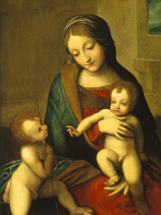Madonna And Child With The Infant Saint John Print by Antonio Allegri Correggio