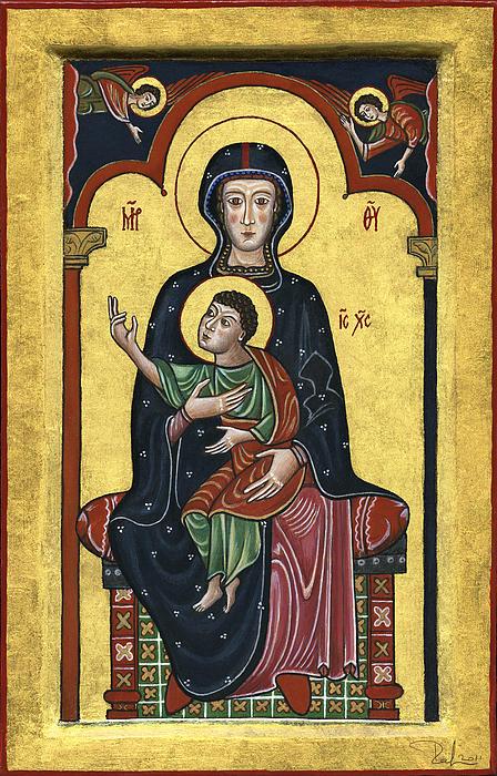 Madonna In Throne With Child. - Madonna In Trono Con Bambino.  Print by Raffaella Lunelli