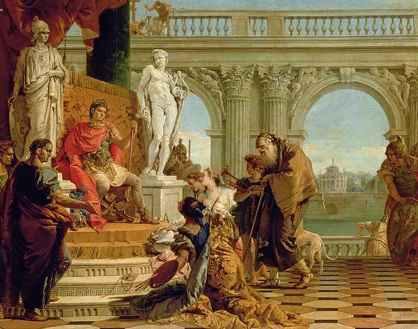 Maecenas Presenting The Liberal Arts To The Emperor Augustus Print by Giovanni Battista Tiepolo