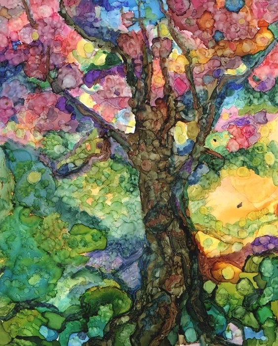 Magical Tree Print by Lin Deahl