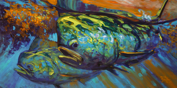 Mahi At Sunset Print by Savlen Art