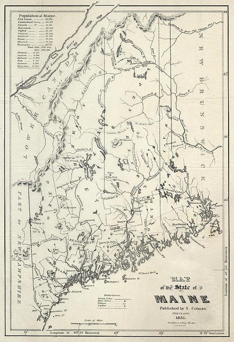 Maine Colman Map 1831 ...