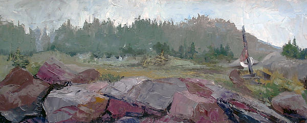 Maine Cove In Fog Print by J R Baldini