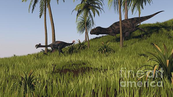 Majungasaurus Chasing A Gigantoraptor Print by Kostyantyn Ivanyshen