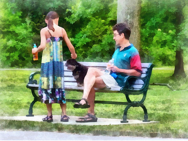 Making A New Friend In The Park Print by Susan Savad