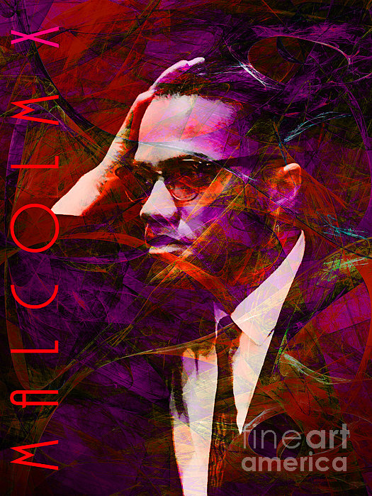 Malcolm X 20140105m28 With Text Print by Wingsdomain Art and Photography