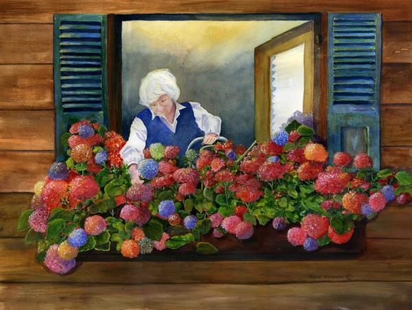 Mamas Window Print by Jane  Ricker