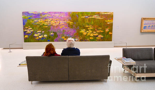 Man And Woman And Monet Painting At Carnegie Museum In Pittsburgh Pennsylvania Print by Amy Cicconi