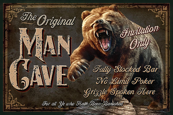 Man Cave Grizzly Print by JQ Licensing
