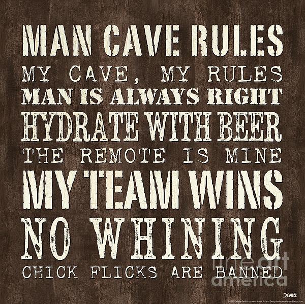Man Cave Rules 1 Print by Debbie DeWitt