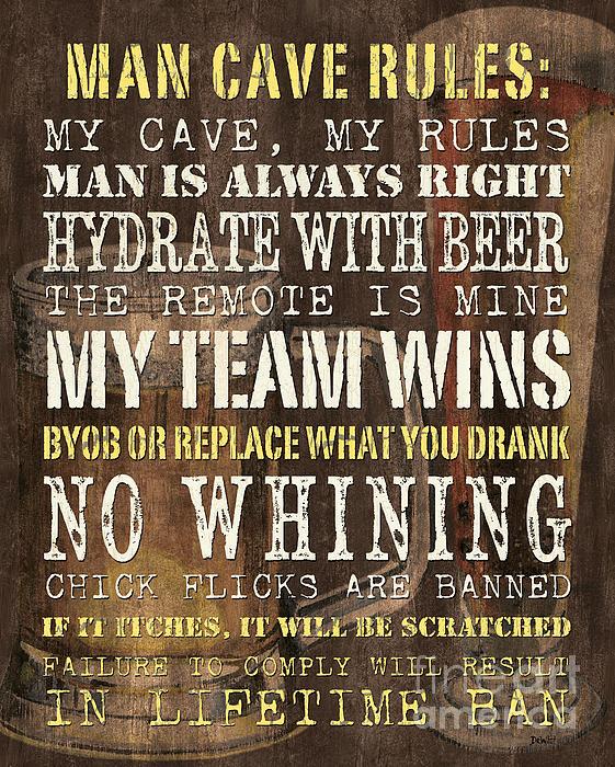 Man Cave Rules 2 Print by Debbie DeWitt