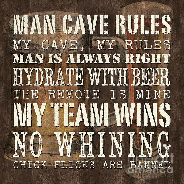 Man Cave Rules Square Print by Debbie DeWitt