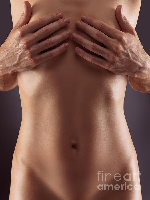 Man Hands Covering Nude Woman Breasts Print by Oleksiy Maksymenko