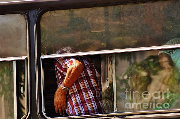 Man On A Bus Havana Print by David Coomber