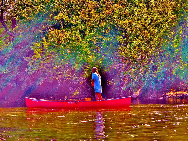 Man On River Print by Hominy Valley Photography