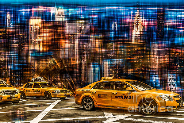 Manhattan - Yellow Cabs I Print by Hannes Cmarits