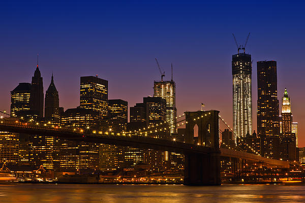 Manhattan By Night Print by Melanie Viola