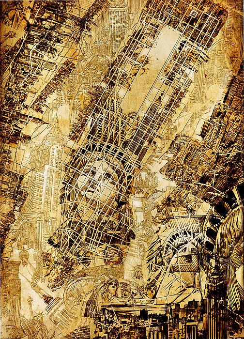 Manhattan Map Antique Print by MB Art factory