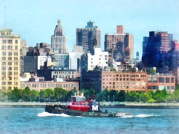 Manhattan - Tugboat Against Manhattan Skyline Print by Susan Savad