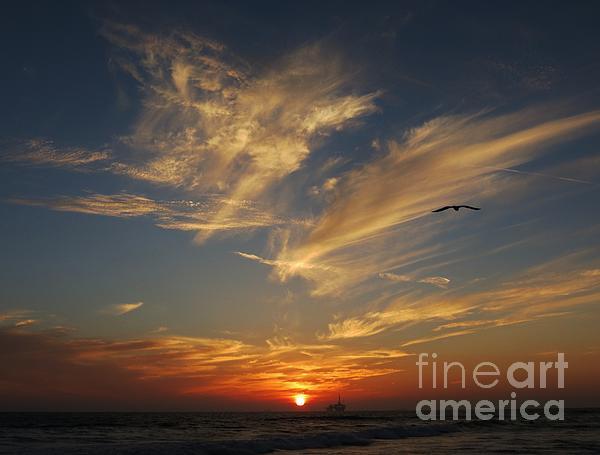 Many Colored Sunset Print by John Groeneveld