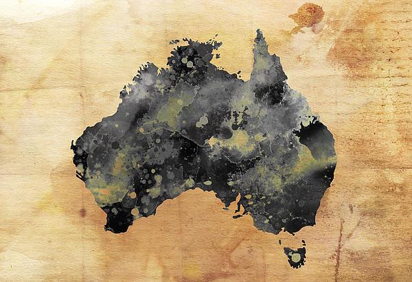 Map Of Australia Grunge Print by Daniel Hagerman