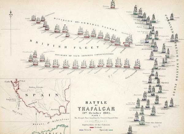 Map Of The Battle Of Trafalgar Print by Alexander Keith Johnson