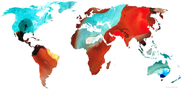 Map Of The World 4 -colorful Abstract Art Print by Sharon Cummings
