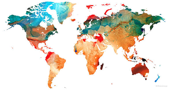 Map Of The World 7 -colorful Abstract Art Print by Sharon Cummings